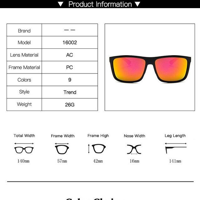 Gafas de sol de diseño clásico para hombre, lentes de sol de marca de lujo, para pescar, conducir, cuadradas, 2019 6
