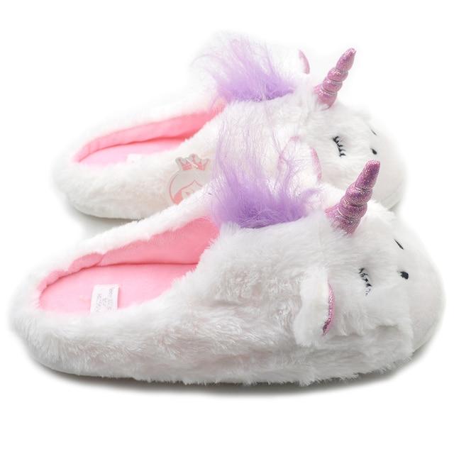 Girls Plush Unicorn Slippers