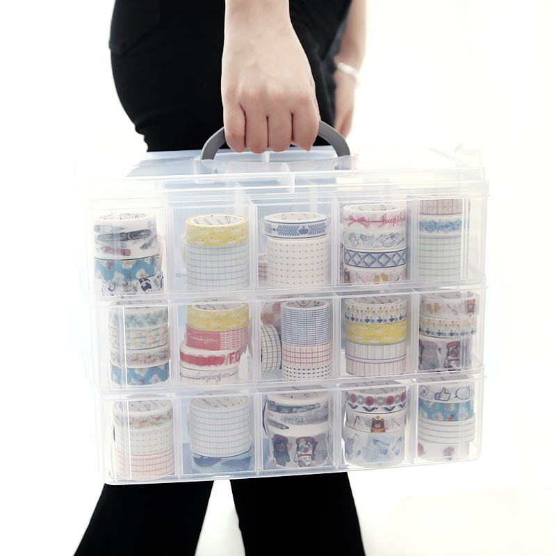 Coloffice Japanese Style Simple Stationery Holder Transparent Stackable 18/30 Girds Washi Tape Holder Handbook Stationery 1PC