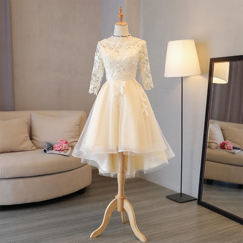 Holievery Half Sleeves Lace Tulle High Low   Bridesmaid     Dresses   2019 Champagne Midi Wedding Party   Dress   Vestiti Damigelle