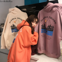 AreMoMuWha Plus Velvet Hoodes Women Loose Korean Version of Autumn and Winter 2019 New Shirt Thick Hooded Harajuku Hoodie QX607