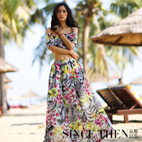 2016 New ! women summer dress chiffon maxi dresses 2 pieces off shoulders ankle-length midriff top vestidos de fiesta robe