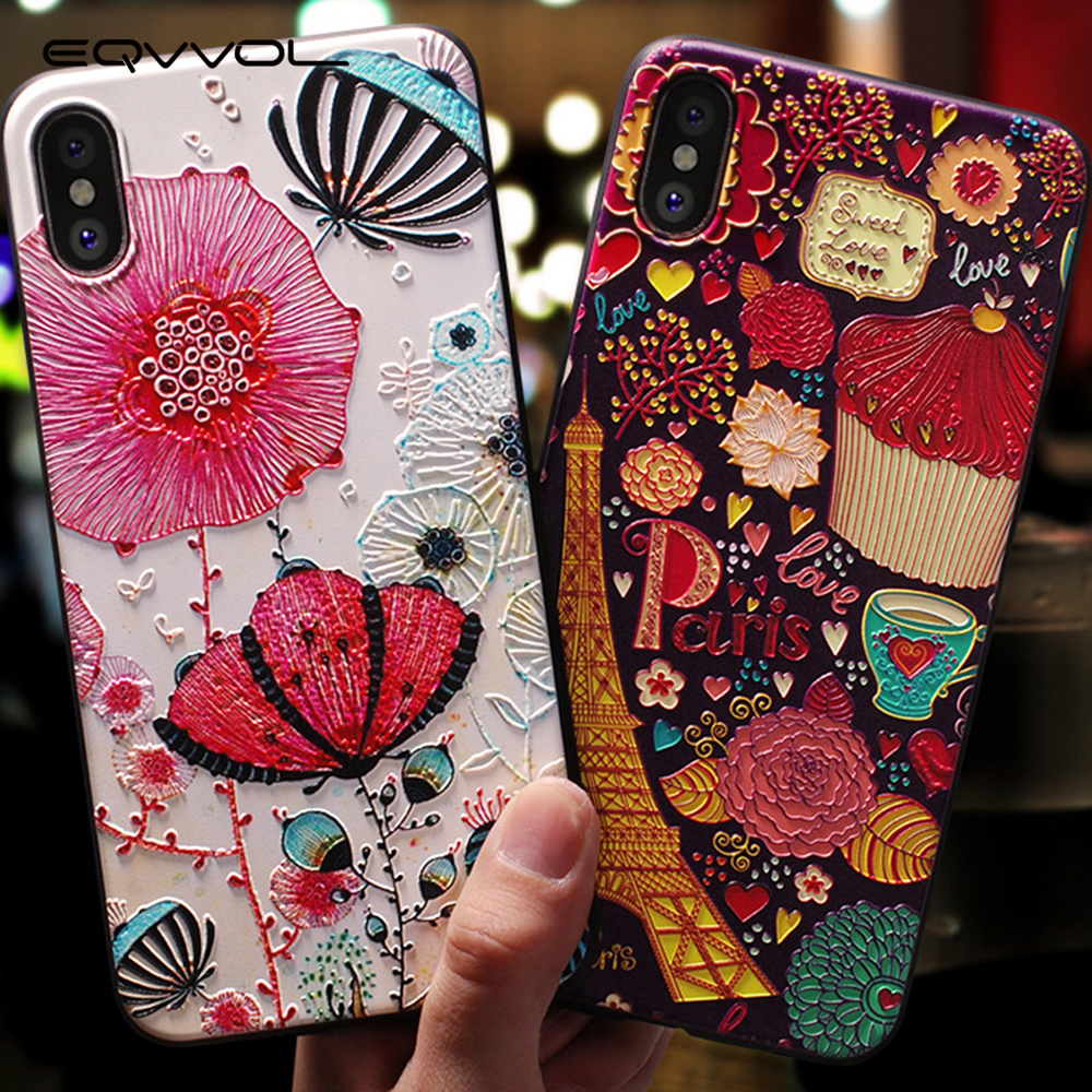 Eqvvol Cute <font><b>3D</b></font> Emboss Cartoon Patterned Phone <font><b>Case</b></font> For <font><b>iphone</b></font> <font><b>X</b></font> 8 7 6 6S Plus <font><b>Cases</b></font> Soft <font><b>Silicone</b></font> Cover For <font><b>iphone</b></font> 5 5s SE Coque image