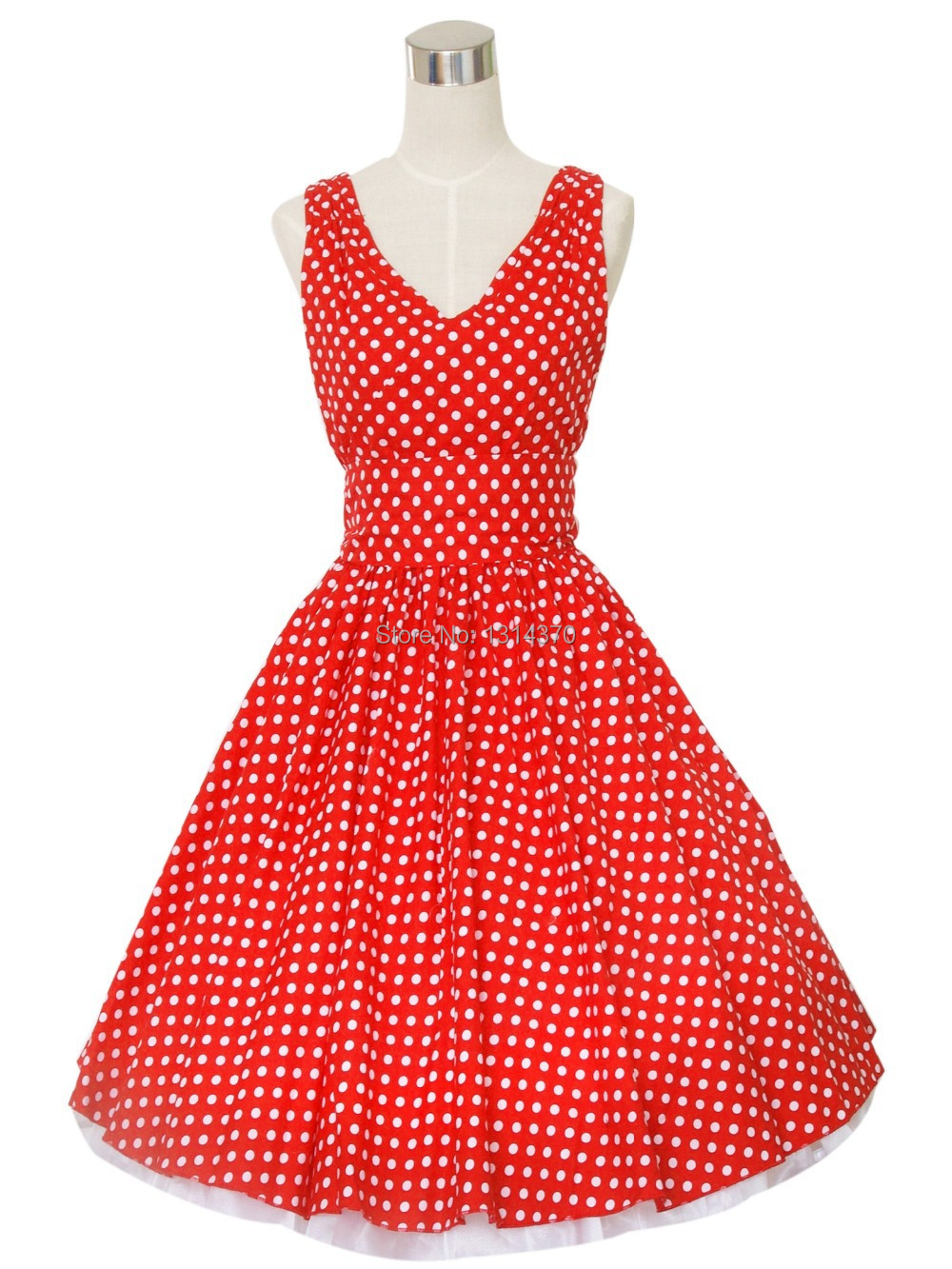 Ženy letní Retro 50s 60s Vintage šaty ležérní Pinup Robe Polka Dot Party Rockabilly Šaty Sexy V-Neck Vestidos Femininos  t