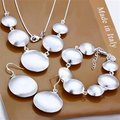 Free Shipping Wholesale Fashion Jewelry Set,Sand circle cow 3 Piece set,925 Sterling silver Necklace&Bracelet&Earrings T074