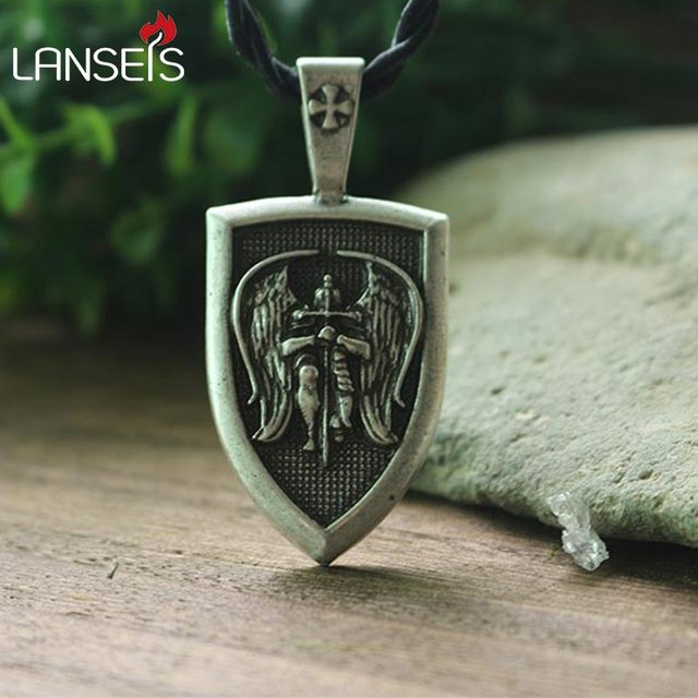 Lanseis 1pcs men necklace archangel stmichael protect me saint lanseis 1pcs men necklace archangel stmichael protect me saint shield protection pendant jewelry aloadofball Image collections