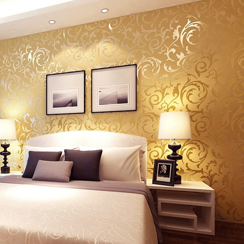 Aliexpress.com : Buy Luxury 3d Gold Wallpaper Non Woven Cloth European  Style Gold Foil Wallpaper Living Room Bedroom Bedside TV Background Wall  From ... Part 36