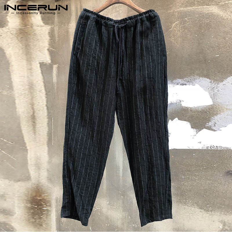 INCERUN Stylish Casual Pants Mens Pants Stripe Pockets Straight Baggy Pants Wide Legs Trousers Loose Fitness Plus Size Pantalon