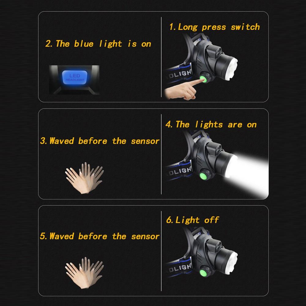 IR Sensor Headlight USB Rechargeable V6/L2/T6 Induction LED Headlamp Fishing Head Light Lamp Lantern By 18650 Battery 3