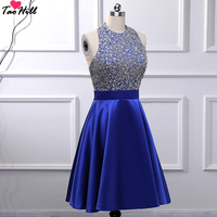 TaoHill Halter Beading Knee Length A line Backless Royal Blue Cocktail Dresses