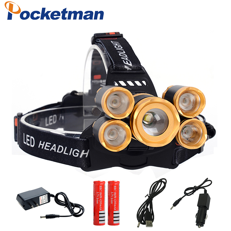 5 * LED XML T6 Phare 30000 Lumens pêche 4 mode Zoomable Lampe Frontale Rechargeable Lampe de poche + 2*18650 + chargeur