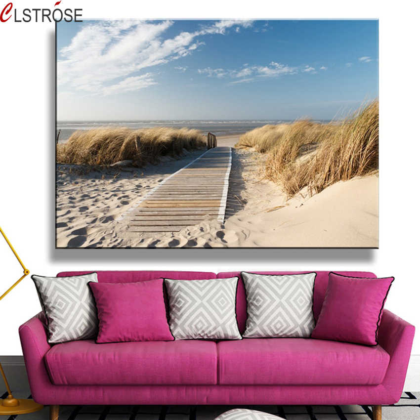 CLSTROSE Canvas Paintings Wall Art HD Prints1 Piece Beach Views Pictures Sand Dunes In North Sea Posters Living Room Decor