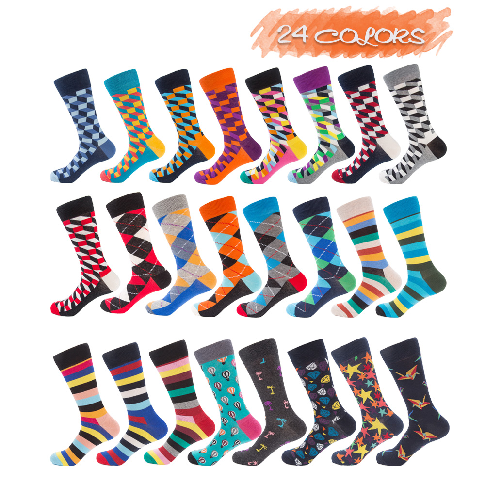 UGUPGRADE Combed Cotton Funny Couple Harajuku Leaves Crew Casual Happy Sock Men Art Flamingo Fashion Cute Hipster Sock Hip Hop