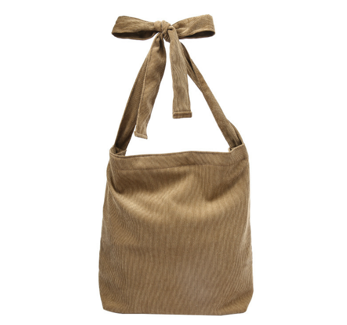 Simple Retro Women Soild Corduory Tote Bags Leisure Shoulder Bags With Zipper Large Capacity Daily Ues Shopping Bag Handbag L400