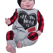 Spring Autumn Cute Newborn Baby Boys Girl Long Sleeve Check Clothes Plaid Hooded Jumpsuit Romper Outfits for kids