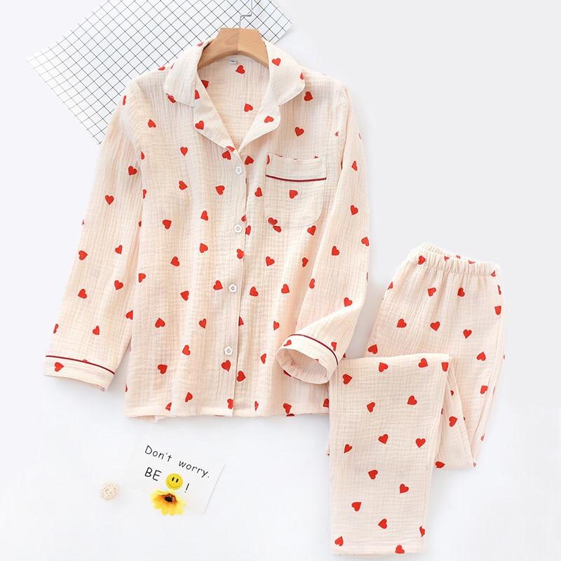 Image 5 - 春の新女性パジャマセットハートプリントクレープ綿二層ガーゼターンダウン襟長袖ズボンの世帯着用パジャマセット   -