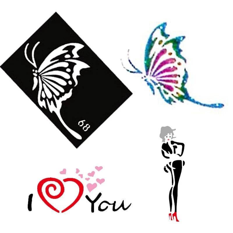 10 Pieces Brosse A Air Paillettes Tatouage Pochoir Chat Ange Coeur Fleur Papillon Mignon Modeles Femme Femme Aerographe Tatouage Pochoirs Aliexpress
