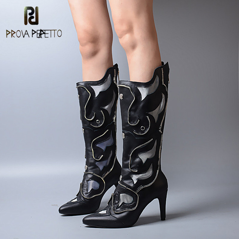 Prova Perfetto Winter New Designer Genuine Leather Women Boots Keep Warm With Inner Look Thin Rivet High Heels Knee-high BootsProva Perfetto Winter New Designer Genuine Leather Women Boots Keep Warm With Inner Look Thin Rivet High Heels Knee-high Boots