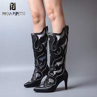 Prova Perfetto Winter New Designer Genuine Leather Women Boots Keep Warm With Inner Look Thin Rivet High Heels Knee high Boots