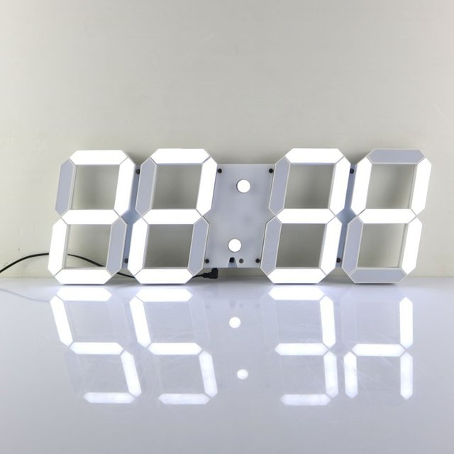 Large Modern 3D Design Digital Led Wall Clock Watches 24 or 12-Hour Display Alarm Clock With Remote Control