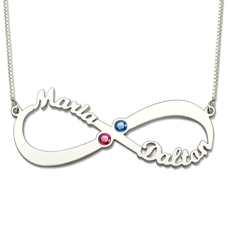 AILIN Infinity Birthstone Necklace Infinity Sign Name Necklace Silver Couple Name Necklace with BirthstoneAILIN Infinity Birthstone Necklace Infinity Sign Name Necklace Silver Couple Name Necklace with Birthstone