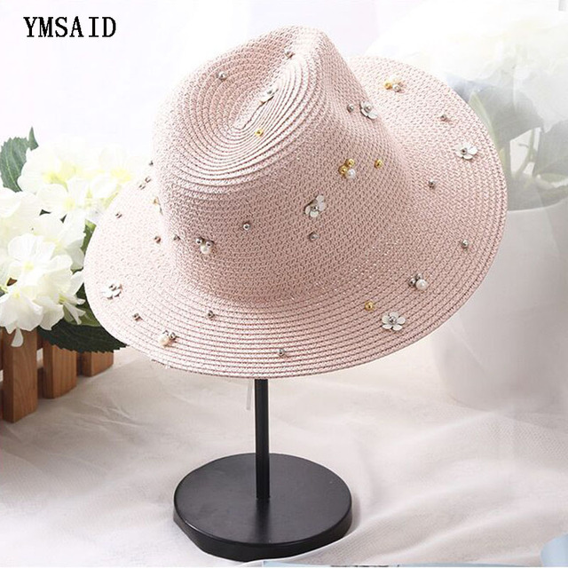 406df007 2018 New Fashion Rivet Sequins Pearl Decoration Sun Hats For Women The Summer  Caps Straw Hat 6 Colors
