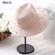 Sun-Hats Caps Pearl-Decoration Summer Women Straw for The 6-Colors Rivet Sequins