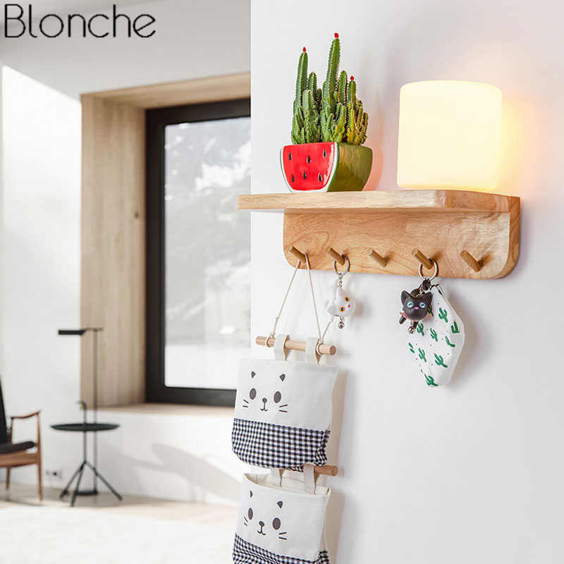 Nordic Diy Plant Wall Lamp Modern Wood Lights For Dining Room Bedroom Bedside Gl Sconce Light Fixtures Home Decor