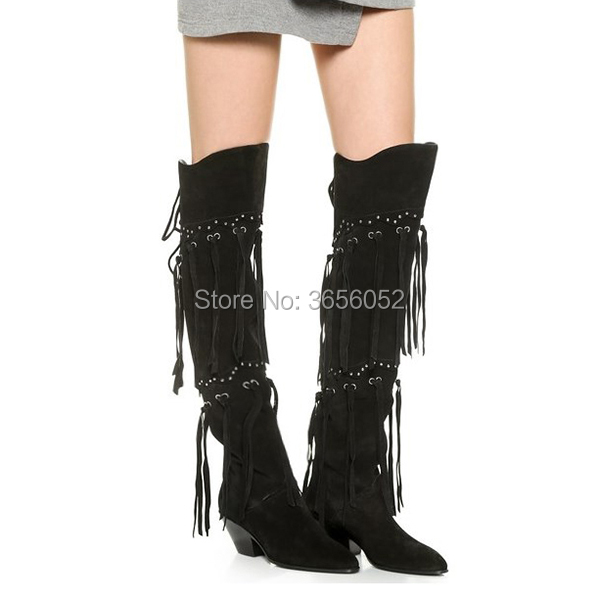 где купить Botas Mujer 2018 Autumn Tassel Shoes Woman Pointed Toe Mid Block Heel Riding Boots Women Back Lace-up Suede Black Fringe Boots по лучшей цене