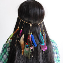 Girls Colorful Feather Boho Hair Bands Hippie Festival Gypsy Tribe Beads Headband Bohemian Peacock Retro Hair Accessorie HC19013 цены онлайн