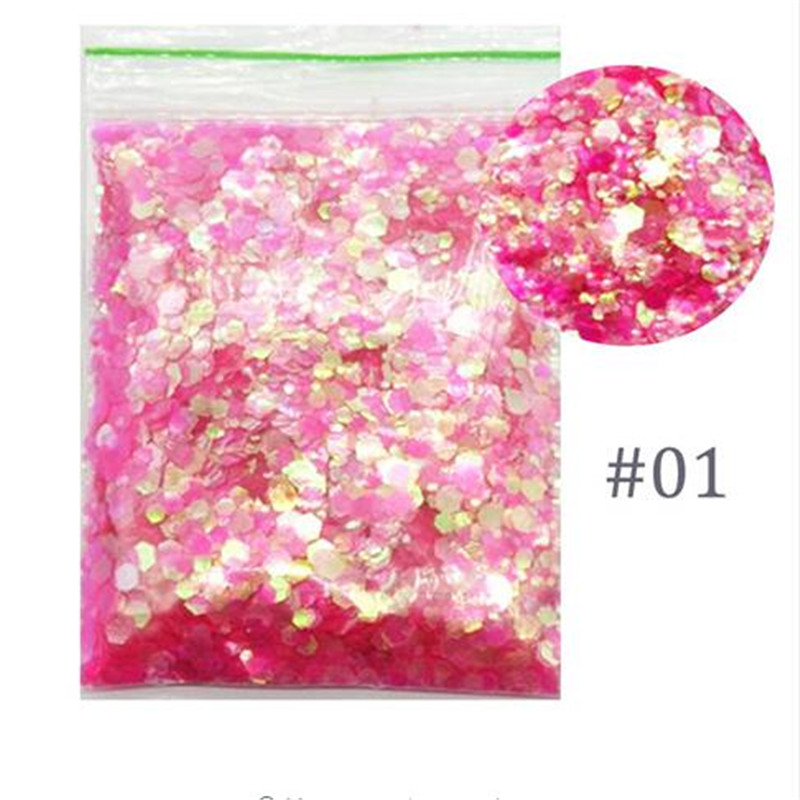 50g/bag Nail Sequins Mix 1mm,2mm,3mm,Pink/Green/Orange 25 Colors Designs Patch For DIY Art Glitter#FD6