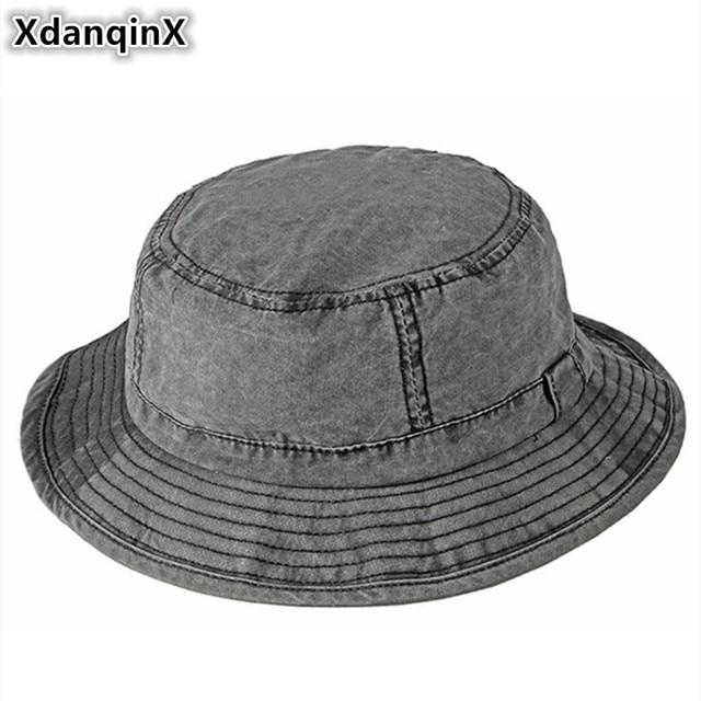 0b9bb3b7 XdanqinX Adult Men's Cap Washable 100% Cotton Bucket Hats Spring Summer  Simple Beach Hat Fashion