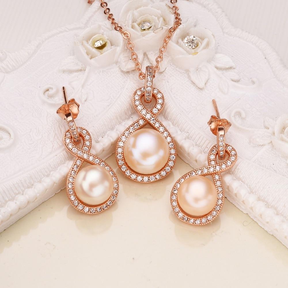 Tuliper 925 argent Sterling infini collier de mariée boucles d'oreilles ensemble Rose cubique Zircon perle bijoux ensemble or Rose pour la fête