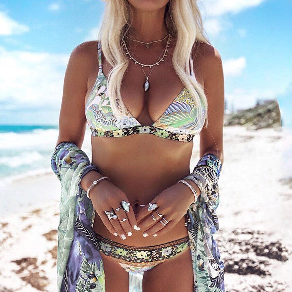 148a15fcc776 Traje de baño bohemio triángulo Bikini Set vendaje push up acolchado  Bañador estampado traje de baño Bikinis ropa de playa 2019 Mujer # A