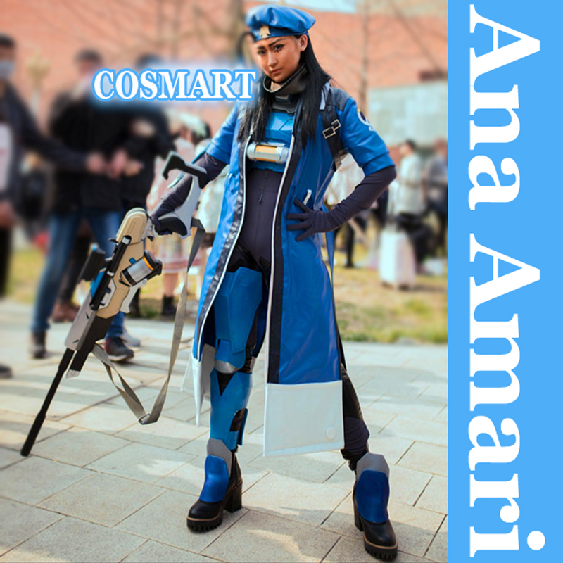 [ARCHIVIO] Game OW figura Ana Amari 2 stili Tuta + PU Trench + Cappello madre Pharah Halloween cosplay New 2018 shippin libero