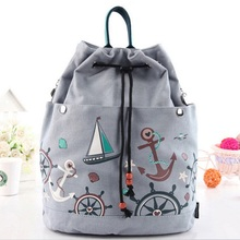 Women Canvas Drawstring Backpack Bucket Beach Bag Girls Casual Sack Bag Travel Cinch Bag Sackpack Mochila Flower Sailboat Print