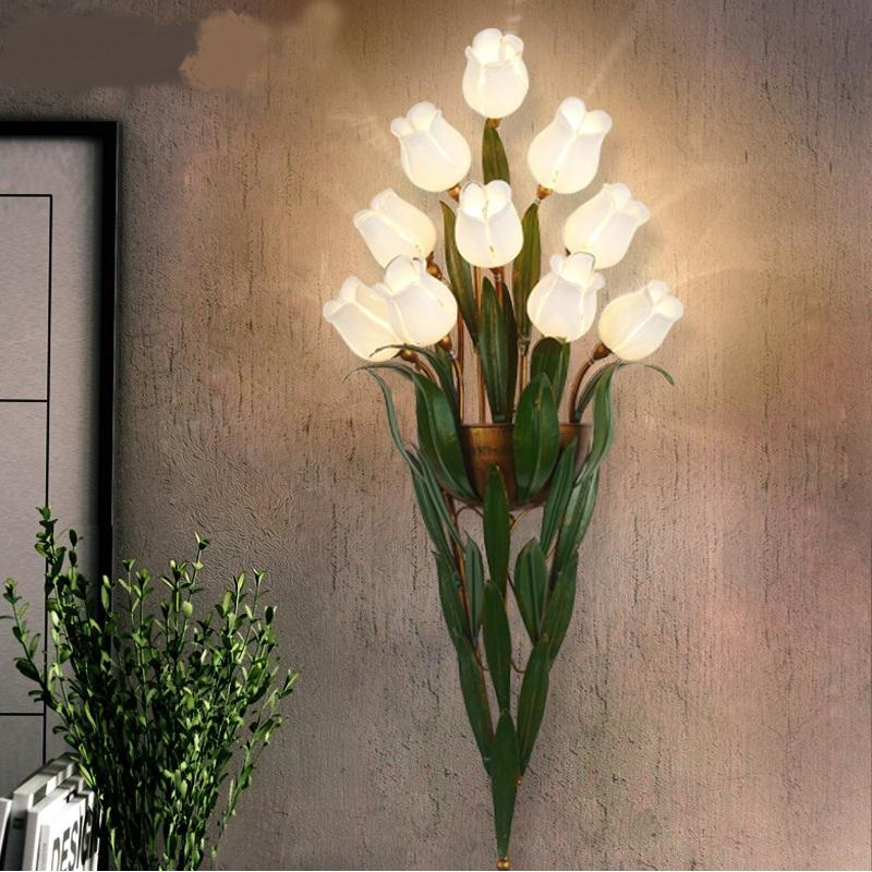 Fleurs bouquet LED appliques murales de chevet chambre lit balcon escaliers avec murs de mode rétro salon led mur lampes ZL373