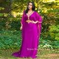 Oro Apliques vestido de noche Musulmán Arabia Árabe Dubai kaftan Vestidos de Noche 2017 Nueva Gasa larga Formal Elegante Vestido CGE120