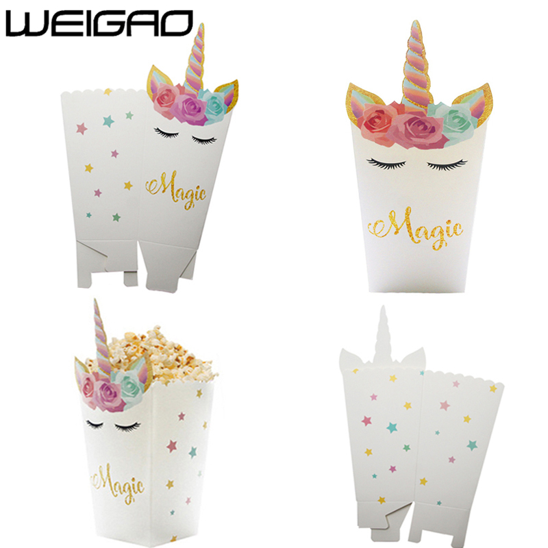 WEIGAO 6pcs Unicornio Party Supplies Paper Popcorn Box Candy Box Bags Gift Box Unicorn Party Decoration Wedding Favors And Gifts