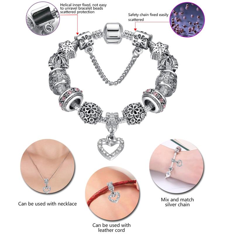 2018 Kualitas Tinggi Pesona Jantung Beads fit Asli Gelang Perak - Perhiasan fashion - Foto 5