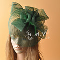 Green/Yellow/Beige/Grey  Wedding Veil Hats With Feather and Flower Decoration Party Small Bridal bohemian Hats face veils