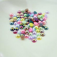 Wholesale pack Mix AB Colors Craft ABS Imitation Pearls Half Round Flatback Pearls Resin Scrapbook Beads Decorate Diy More sizes(China)