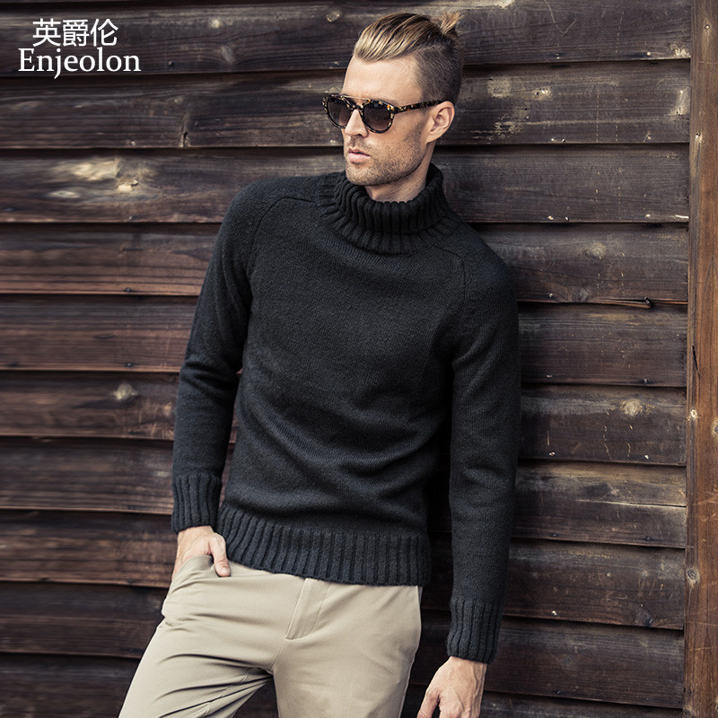 Enjeolon Brand Winter Turtleneck Knitted Pullover Wool Sweaters Man Solid 4 Color Sweater For Men Casual Warm Sweater MY3033
