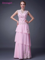 Pink 2018 Mother Of The Bride Dresses A Line Cap Sleeves Chiffon Lace Beaded Crystals Long