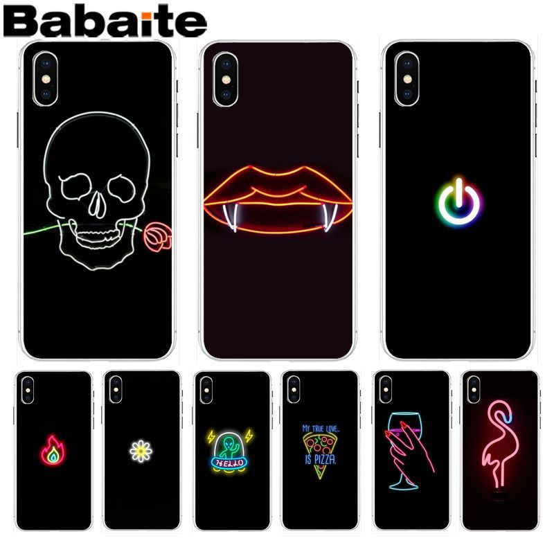 Babaite Black background fluorescent small pattern font neon Phone Case for Apple iPhone 8 7 6