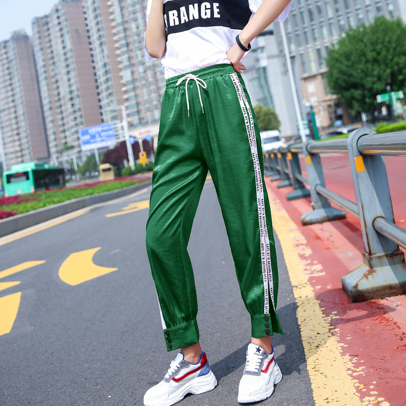 Women Split Pants Side White Striped Sweatpants Spring Ankle-Length Loose Harem Trousers Female Casual Wear WX321