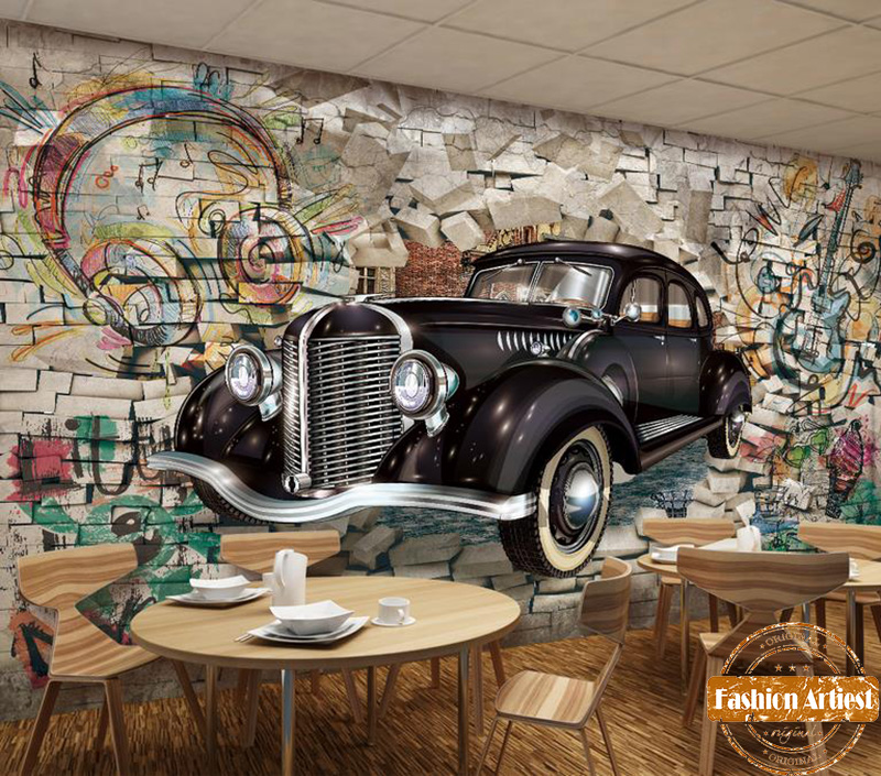 custom 3d automobile wallpaper mural classic vintage car. Black Bedroom Furniture Sets. Home Design Ideas