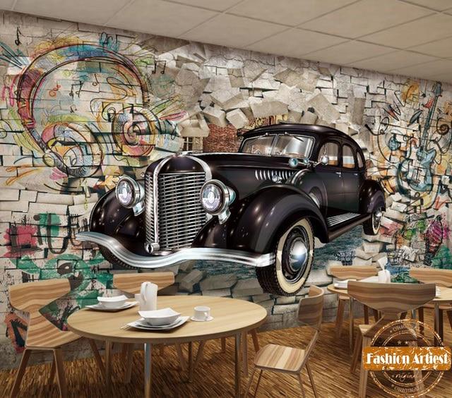 Custom D Automobile Wallpaper Mural Classic Vintage Car Out Of Graffiti Wall Tv Sofa Bedroom Living