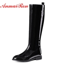 AnmaiRon Womens Patent Leather Knee Winter Boots Flat Boots, Elegant Fashion Ladies Size 34-39