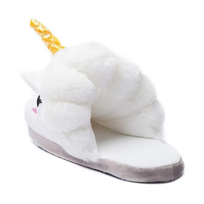 Nieuwe Mode Unisex Eenhoorn Katoenen Slippers 2016 Winter Warm Pluche - Kinderschoenen - Foto 2